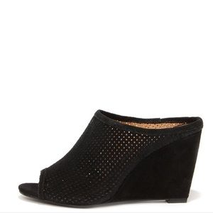 Seychelles Perforated Black Wedge Shoes